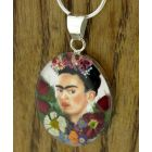 Frida Kahlo with Flowers in Hair Silver Pendant