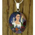 Frida Kahlo with Parrots with Real Flowers Pendant