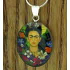 Frida Kahlo with Flowers Silver Pendant