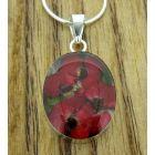 Oval Poppy Silver Flower Pendant