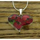 Heart Poppy Rose Silver Pendant