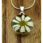 Circle Daisy Silver Flower Pendant