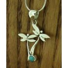 Dragonflies with Turquoise Silver Pendant