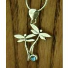 Dragonfly with Blue Topaz Silver Pendant