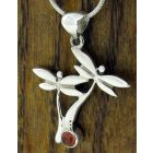 Dragonfly with Garnet Silver Pendant