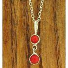Double coral silver pendant