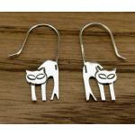 Unusual Cat Silver Earrings