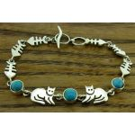 Cat with Turquoise Silver Bracelet
