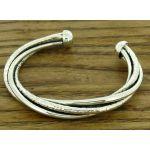Hammered Twist Silver Cuff