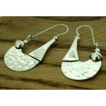 Tribal Hammered Unusual Silver Earrings