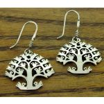 Orbed Tree of Life Silver Earrings
