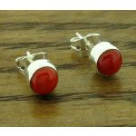 Coral 5mm Silver Stud Earrings