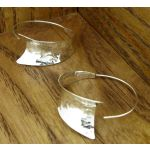 Hammered Curl Hoop Silver Earrings
