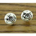 Spiral Turtle Silver Stud Earrings