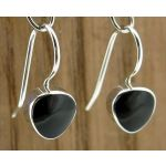 Black Obsidian Drop Silver Earrings