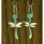 Dragonfly with Turquoise Silver Earrings