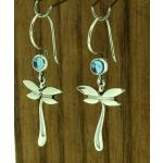 Silver Dragonflies with Topaz