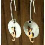 Moon Copper Cat Silver Earrings