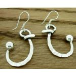 Curved Hammered Silver Earrings