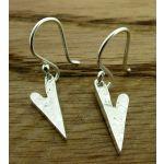 Elongated Hammered Heart Handmade Silver Earrings