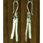Hammered Strands Silver Earrings