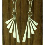 Deco Fan Silver Earrings
