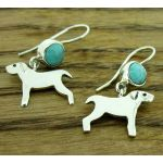 Dog with Turquoise Silver Earrings