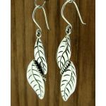 Leaf Twirl Silver Earrings