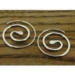 Spiral Hammered Hoop Silver Earrings