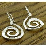 Spiral Curve Silver Earrings