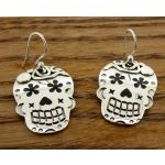 Day of the Dead Candy Skull with Flowers Silver Earrings