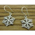 Diamond Snowflake Silver Earrings