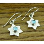 Topaz Hammered Star Silver Earrings