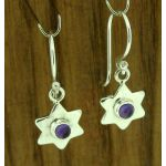 Amethyst Hammered Star Silver Earrings