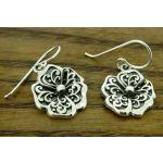Flower of Swirls Silver Earrings