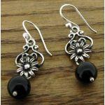 Onyx Flower Silver Earrings