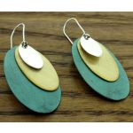 Layered Ovals Silver Earrings