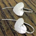 Long Hammered Handmade Silver Heart Earrings