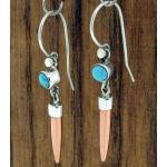 Turquoise Aguja Silver & Copper Earrings