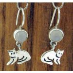 Cat with Moonstone Silver Earrings