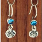 Ammonite Shell with Blue Topaz Silver Earrings