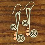 Copper & Silver Spiral Music Note Earrings