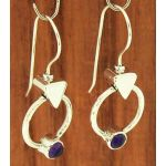 Amethyst Circle Silver Earrings