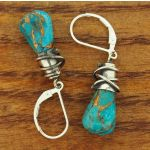 Turquoise with Bronze Alambres Silver Earrings