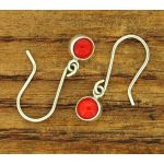 dainty coral drop silver earrings