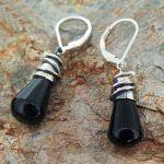 Onyx Alambres Silver Earrings