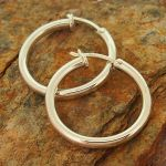 Smooth Chunky Silver Hoop Earrings