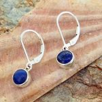 Lapis Chunky Circles Silver Earrings