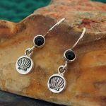 Shell with Onyx Silver Earrings
