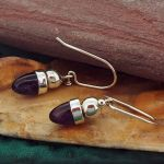 Amethyst Acorn Silver Earrings